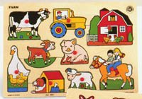 Picture of Small World Toys Farm Scenes Puzzle - Puzzabilities Level 2 (B000VARZFC) (Pegged Puzzles)