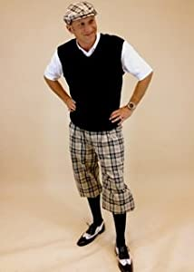 Mens Golf Outfit - Khaki Turnberry Plaid Knickers, Black Sweater, Socks and Cap by Kings Cross Knickers