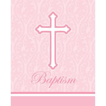 Faith Pink Holy Baptism Invitations 8 Per Pack