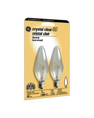 GE 48402 60-Watt Candelabra Light Bulb, Blunt Tip, 2-Pack
