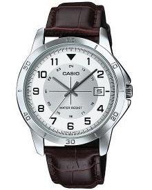 CASIO MTP-V008L-7 - Reloj de pulsera, para hombre, color blanco y marrón