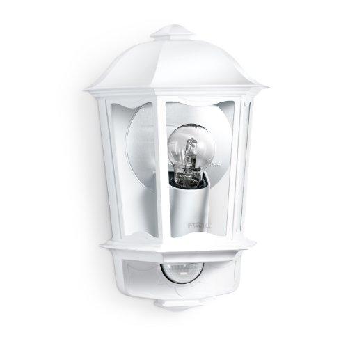 Steinel Außen-Wandleuchte L 190 S weiß mit 180° Bewegungssensor mit max. 12 m Reichweite, Soft-Lichtstart, Watt-o-matic, Aluminiumdruckguss, 644512