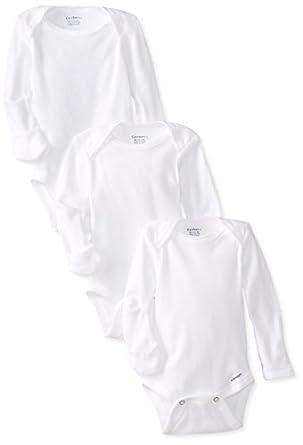 Gerber Unisex-Baby Newborn 3 Pack Longsleeve Mitten Cuff Onesies Brand, White, Newborn