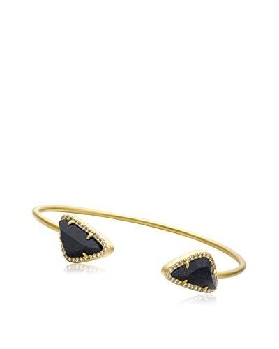 Riccova Satin 14K Gold Plated Snake Bangle with Blue Sand Stone Ends