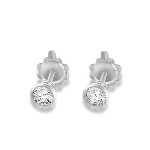 0.60ct certified Round Brilliant Cut Diamond Earrings for Women H/SI1 in 18ct white gold -E107