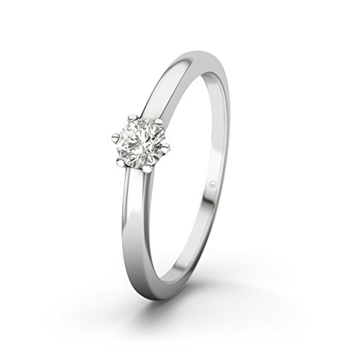 21DIAMONDS Women's Ring Den Haag SI1 0.2 ct Brilliant Cut Diamond Engagement Ring - Silver Engagement Ring