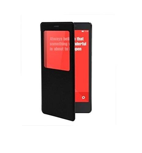 Plus Premium Durable Leather Caller ID Flip Case Cover For Xiaomi Redmi Note 4G / Xiaomi Redmi Note Prime - Black Color