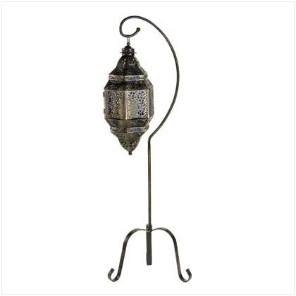 B008YQ49H2 Gifts & Decor Tall Iron Moroccan Standing Metal Candle Lantern Stand