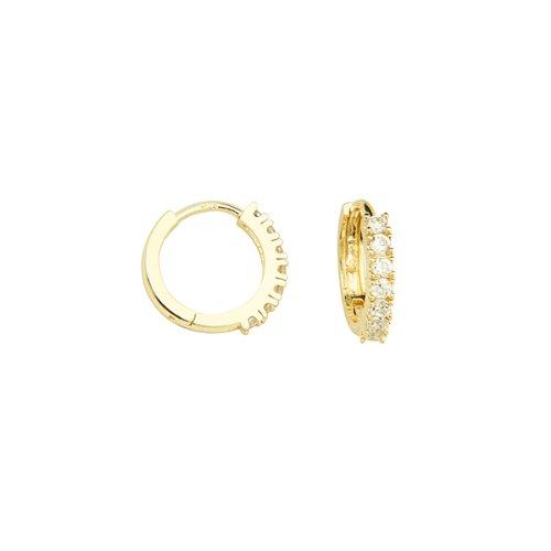 13.3mm Yellow Gold Plated Brass Cubic Zirconia Huggie Hoop Earrings for Children & Women