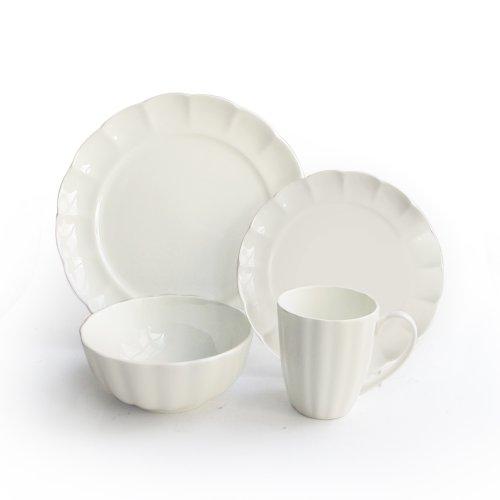 American Atelier 16-Piece Scallop Bone China Dinnerware Set