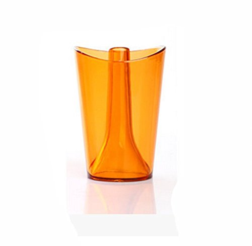 Eforstore Multicolored Two-in-one Plastic Cup Creative Transparent Home Bathroom Toothbrush Holder Gargle Toothbrushing Cup (Orange)