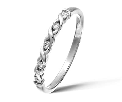 Ariel 9ct White Gold 0.10ct Diamond Kiss Eternity Ring