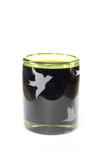 VIVAZ Etched Birds Double Old Fashioned Glass, Lime Recycled Glass, Set of 4