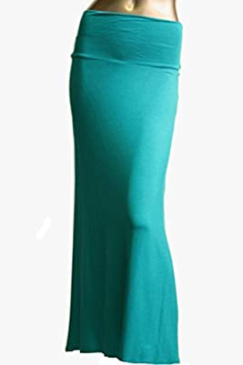 Azules Women'S Rayon Span Maxi Skirt - Solid
