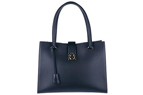 Salvatore Ferragamo borsa donna a spalla shopping in pelle nuova marlene nero