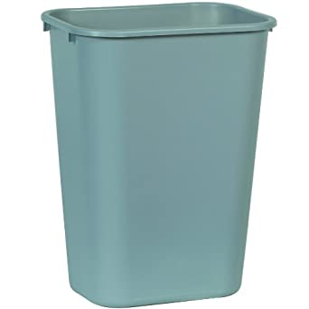 Rubbermaid commercial deskside lldpe trash can rectangular industrial scientific - Rectangular garbage cans ...