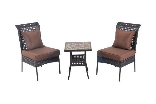 Patio Sense Zuni 3-Piece All Weather Wicker Bistro Set image
