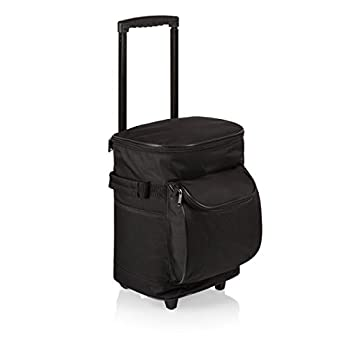Picnic Time Insulated Portable Rolling Cooler on Wheels, Black