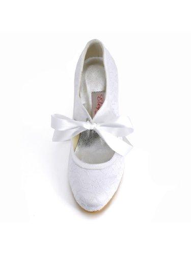 ElegantPark Women Mary Jane Closed Toe High Heel Pumps Lace Wedding Dress Shoes 5
