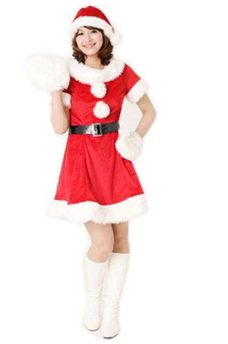 Black Temptation Women's Mrs Santa Christmas Costume Fancy Dress(202)