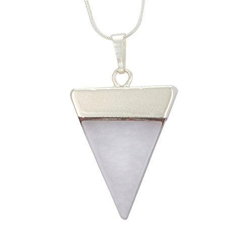 Top Quality Natural Rock Crystal Healing Point Reiki Chakra Triangle Cut 18-20 Inch Gemstone Pendant Necklace (1pc) in Gift Bag #GGP-A3 (Gem Stone Rosary compare prices)