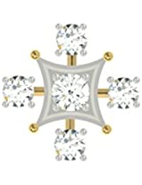 TBZ - The Original Floral 18k Yellow Gold And Diamond Nosepin - B01BD4N0OO