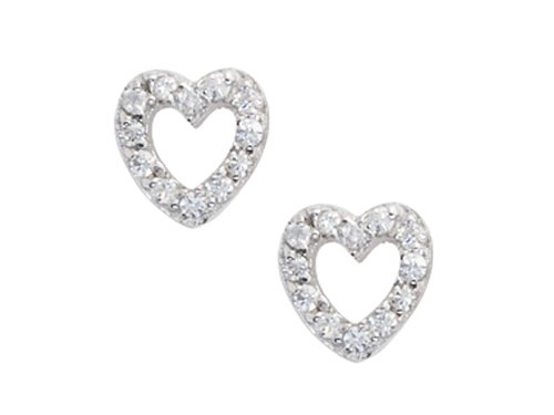 925 Sterling Silver Childrens Open Heart Earrings with White CZ's LIFETIME WARRANTY