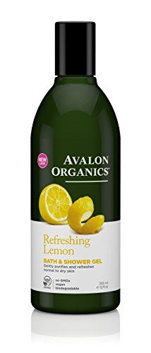 Avalon Organics Bath & Shower Gel, Refreshing Lemon, 12 Fluid Ounce