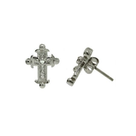 Four Point CZ Sterling Silver Cross Earrings