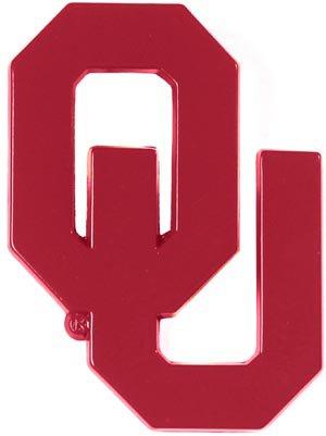Red Oklahoma Sooners METAL Auto Emblem