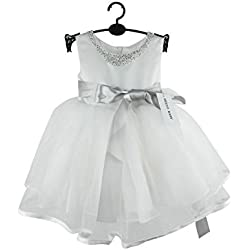 """Hello Summer maniche corte da bambino, motivo fiocco abito 1386 Flower Girl """" Bianco bianco 3-6 mesi"""