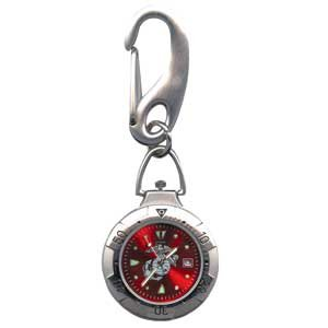 RAM Instrument Belt Watch, Chrome, Military, US Marine Logo, Red Face