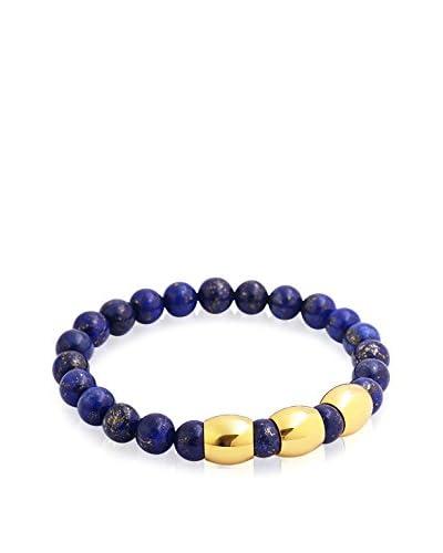 Edforce Steel Blue Beads Expansion Bracelet, Gold