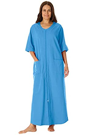 Dreams & Co. Women's Plus Size Long Robe In French Terry With Zip