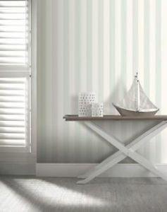 Opera Linen Stripe Wallpaper - Duck Egg from New A-Brend