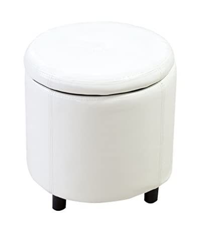 Italian Office Pouf Cilindro weiß