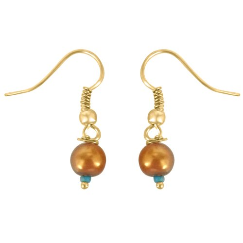 Surat Diamonds Surat Diamonds Round Shape Brown Imitation Shell Pearl & Gold Plated Hanging Earrings For Women (SHE12) (Multicolor)