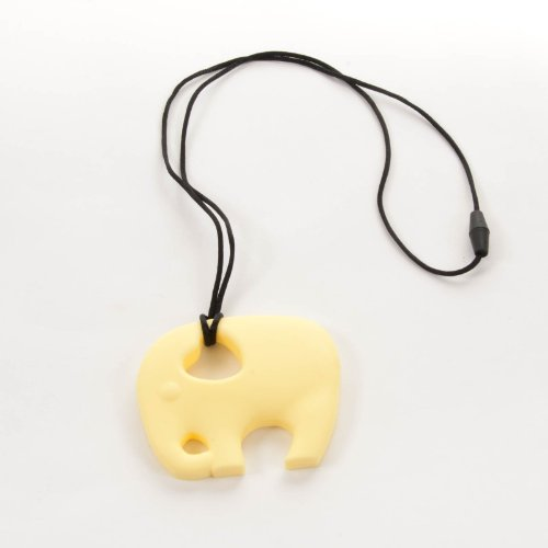 Sassy Baby Beads Chew Teething Nursing Pendant Necklace - Yellow Elephant front-966563