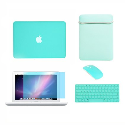 TopCase Macbook Snowy 13 13-inch (A1342 / Latest) 5 in 1 Package - Rubberized Robin Egg Blue Hard Envelope Cover + Matching Color Soft Sleeve Bag + Silicone Keyboard Pass + Wireless mouse + LCD HD Clear Screen Protector With TopCase Mouse Pad (Protection