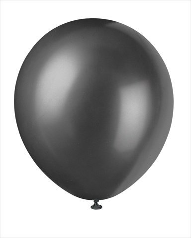Shadow Black Pearlized Party Supplies Favors 12in Latex Helium Ballons 10pk - 1