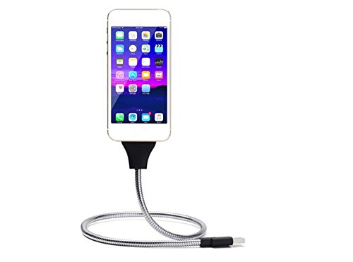 WOPOW 50CM Flexible Metal USB Data Cable Mobile Phone Stand Holder Usb Charging Cord for iPhone 6/7 (Metal Cable Wire compare prices)