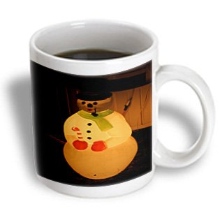 Mug_52623_1 Jos Fauxtographee Holiday - An Illuminated Plastic Snowman With A Pipe And Black Hat In A Yard At Night For Christmas - Mugs - 11Oz Mug
