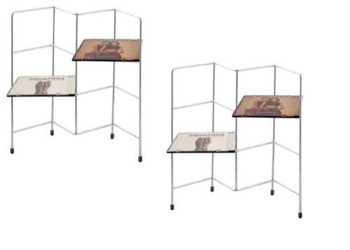 SET OF 2: Zig Zag Chrome CD Storage Rack Units (Capacity of each unit: 42 CDs)