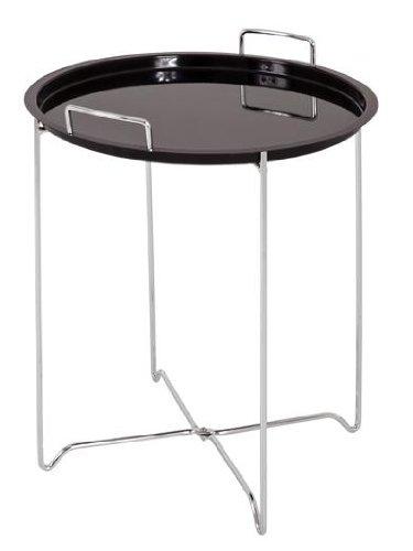 Beistelltisch aus Stahl verchromt, mit abnehmbarem Tablett in schwarz von Haku-Möbel