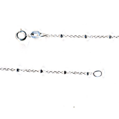 Fine Cable Beads Nickel Free Sterling Silver Chain Necklace for Child 14 Inch