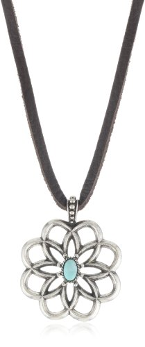 """Lucky Brand """"Cahuilla Tribe"""" Leather And Carved Flower Pendant Necklace"""