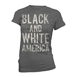 Lenny Kravitz Black And White America Ladies Charcoal Lightweight T-Shirt