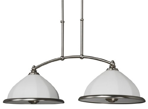 B00112X8WI Lighting by AFX FAP218SNSCT Faceted Blown, 2 Light, Glass Pendant, Satin Nickel
