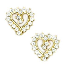 14ct Yellow Gold CZ Medium Heart Fancy Post Earrings - Measures 10x10mm