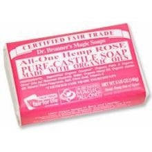 Dr Bronners Organic Classic Rose Bar Soap, 5 Ounce -- 6 per case.